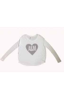 A&M Heart Wht Rib Sl