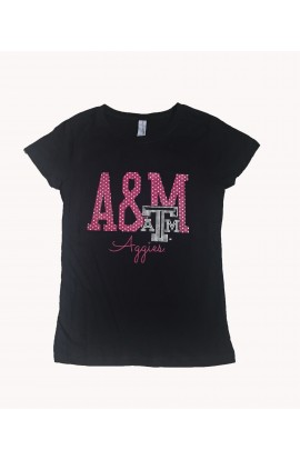 Girls A&M Bling Blk Crew